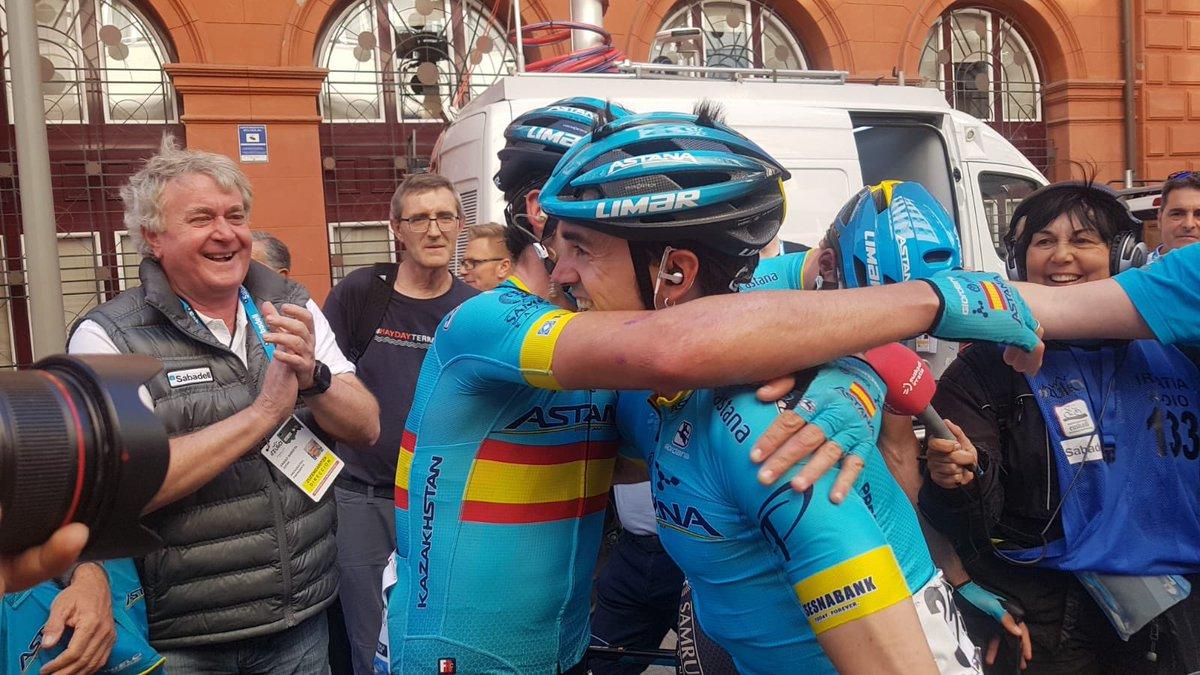 La joie chez Astana après l'arrivée du Tour du Pays Basque