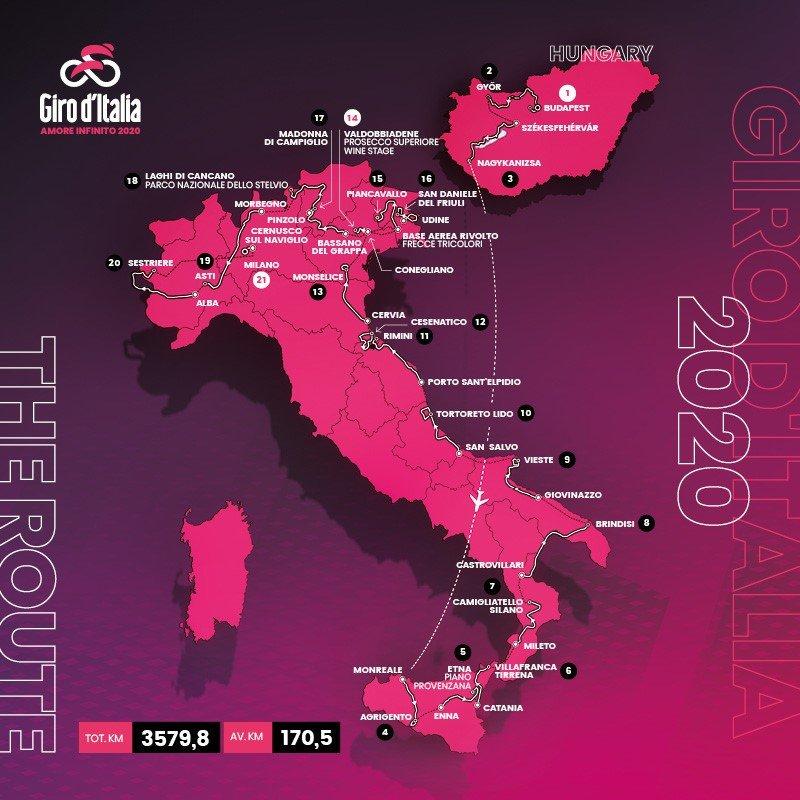 Le parcours 2020 du Giro