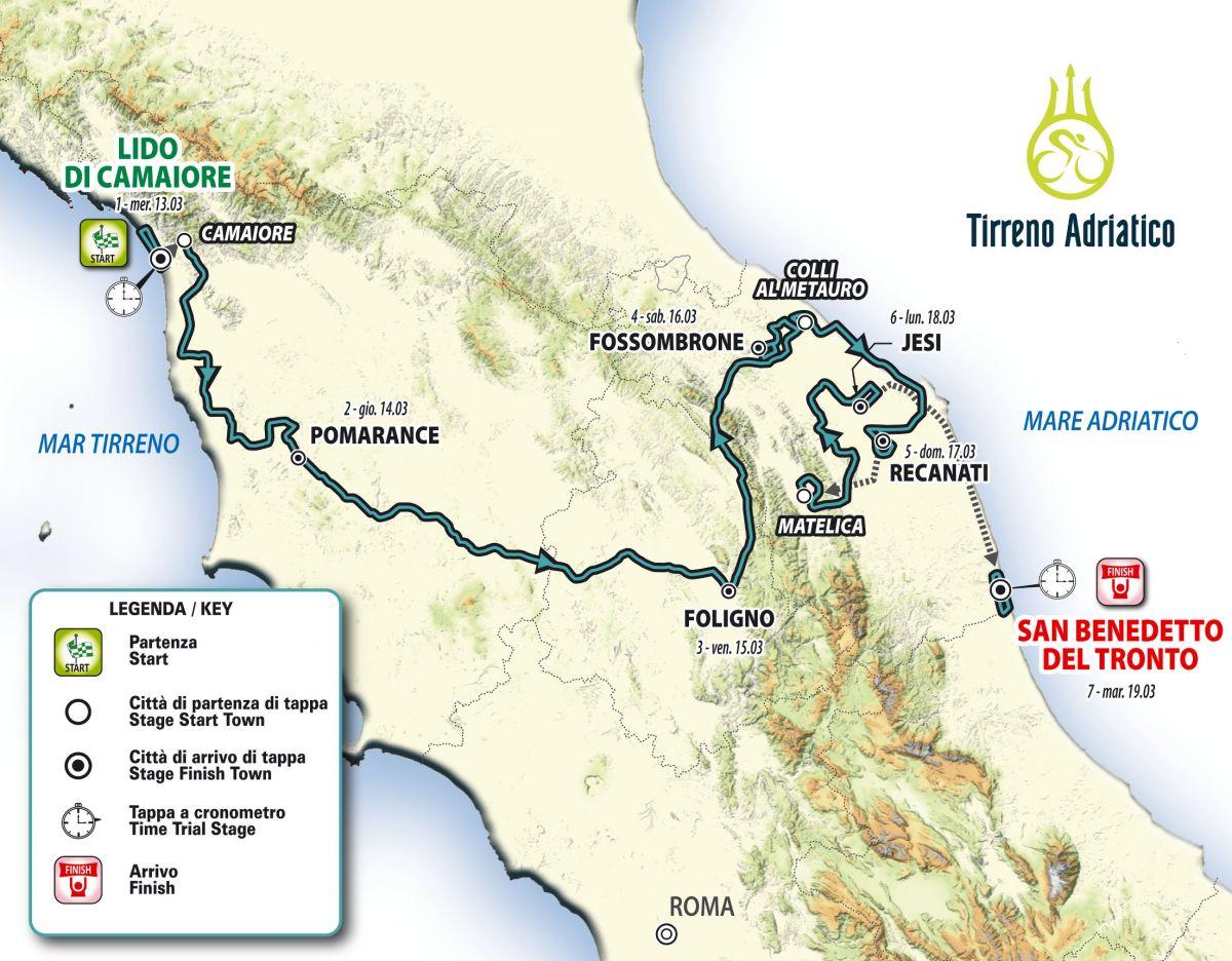 Le Parcours complet de Tirreno-Adriatico 2019
