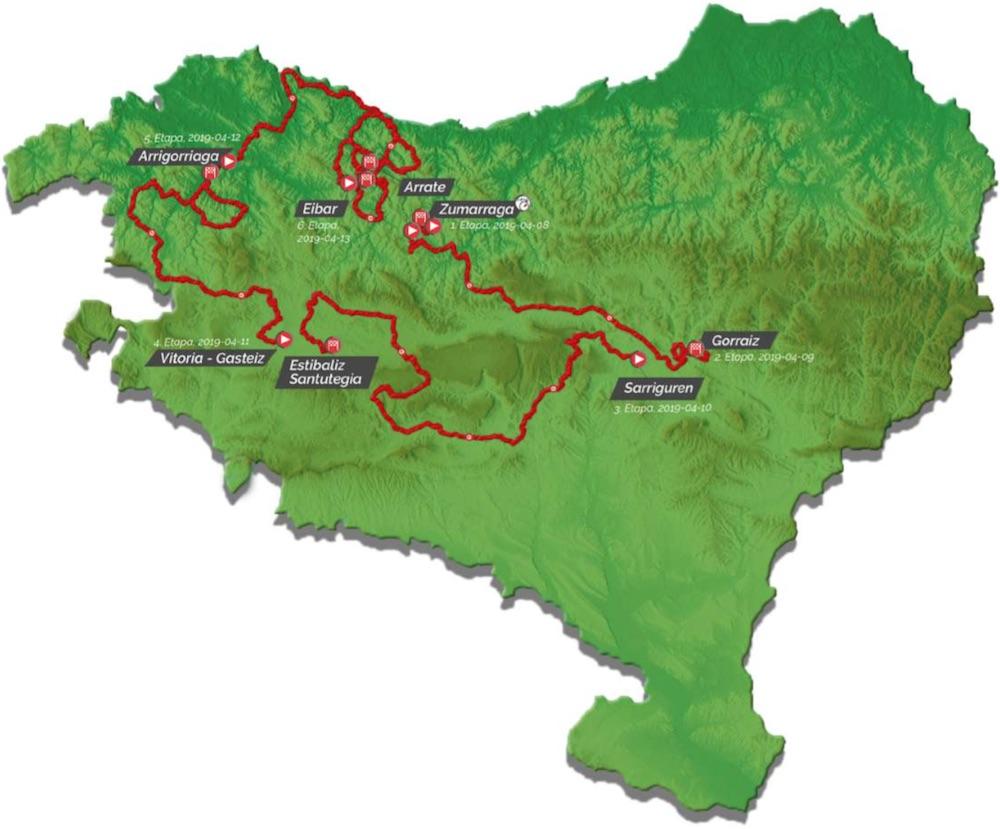 Le parcours de la 59ème édition du Tour du Pays Basque