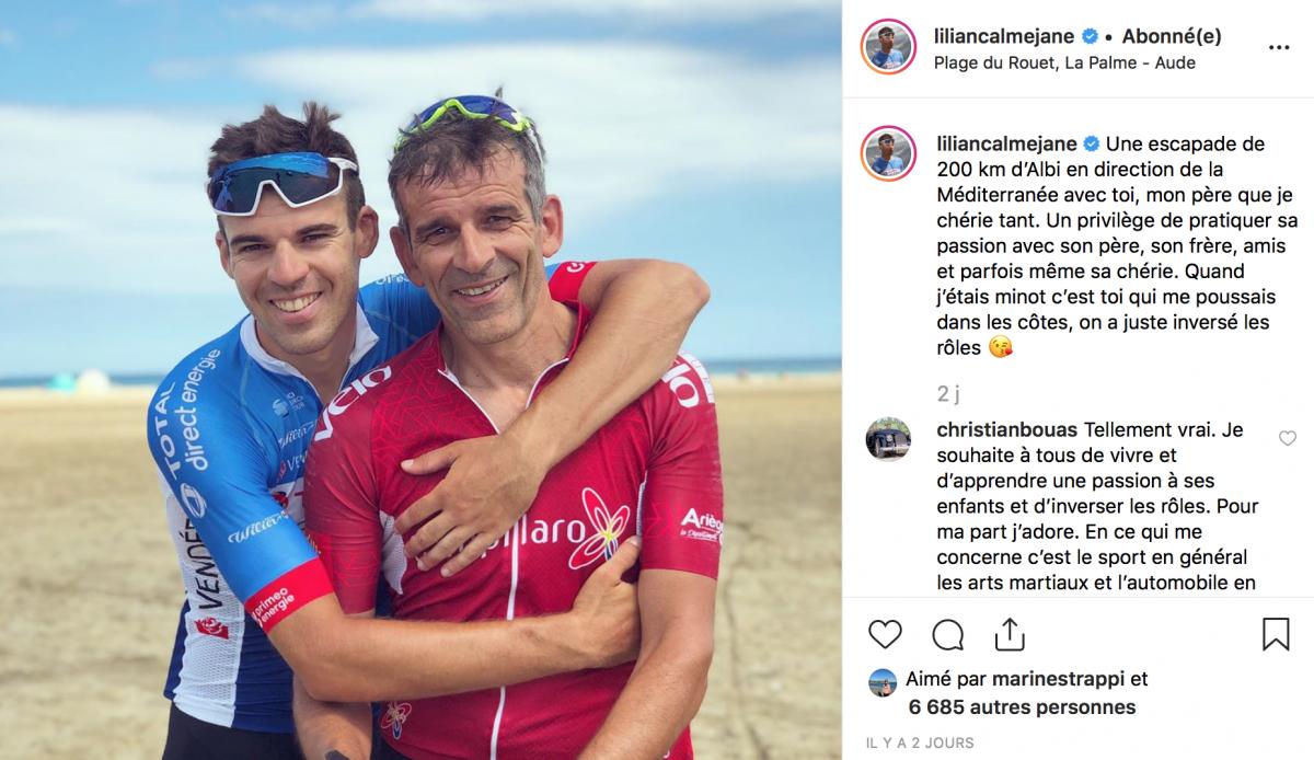 Lilian Calmejane partage 200kms avec son papa