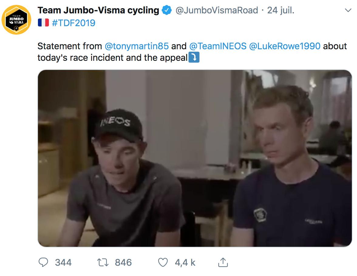 Luke Rowe et Tony Martin tiennent à s'excuser