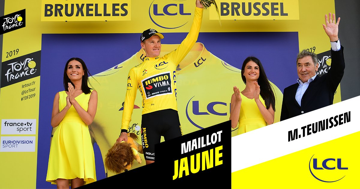 Mike Teunissen en jaune sur le Tour