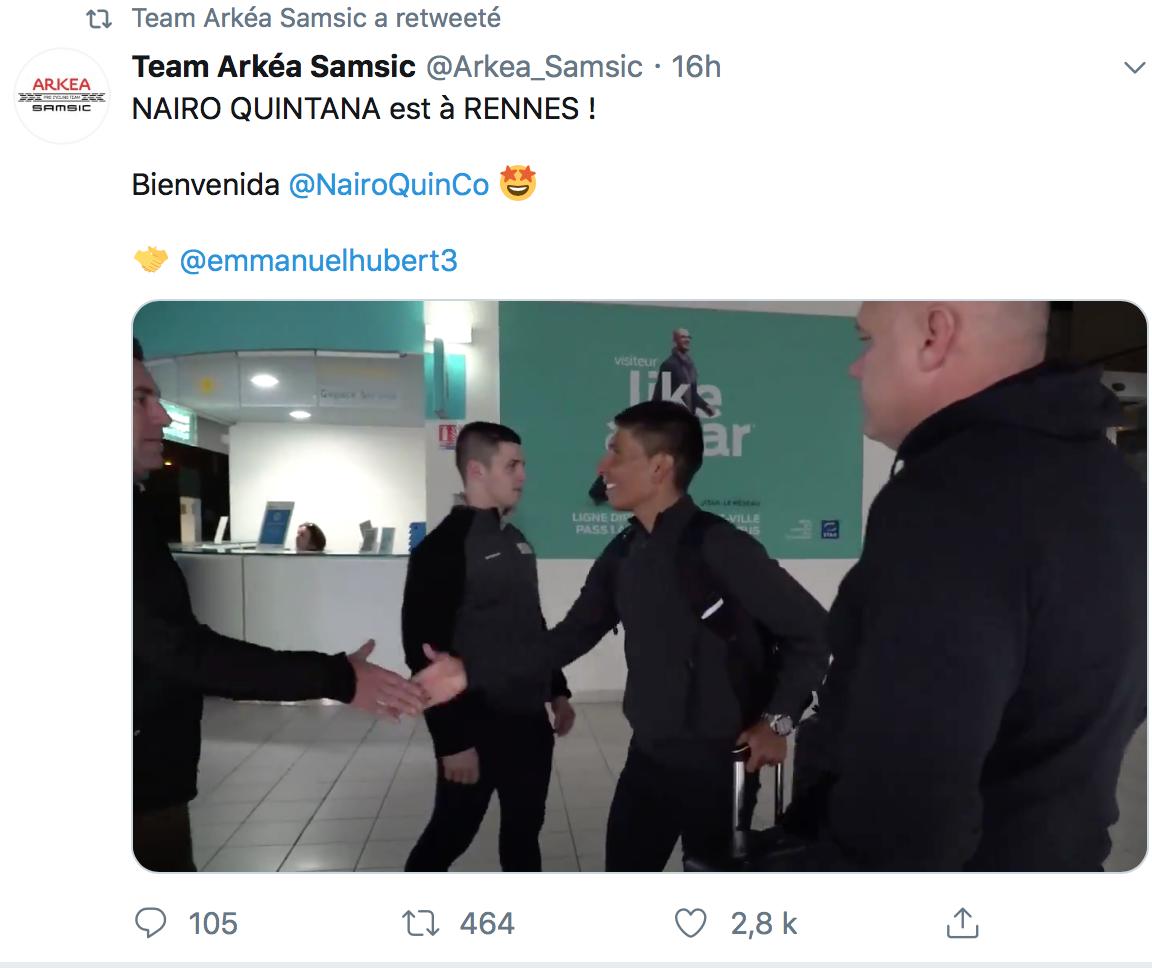 Nairo Quintana arrivé en Bretagne