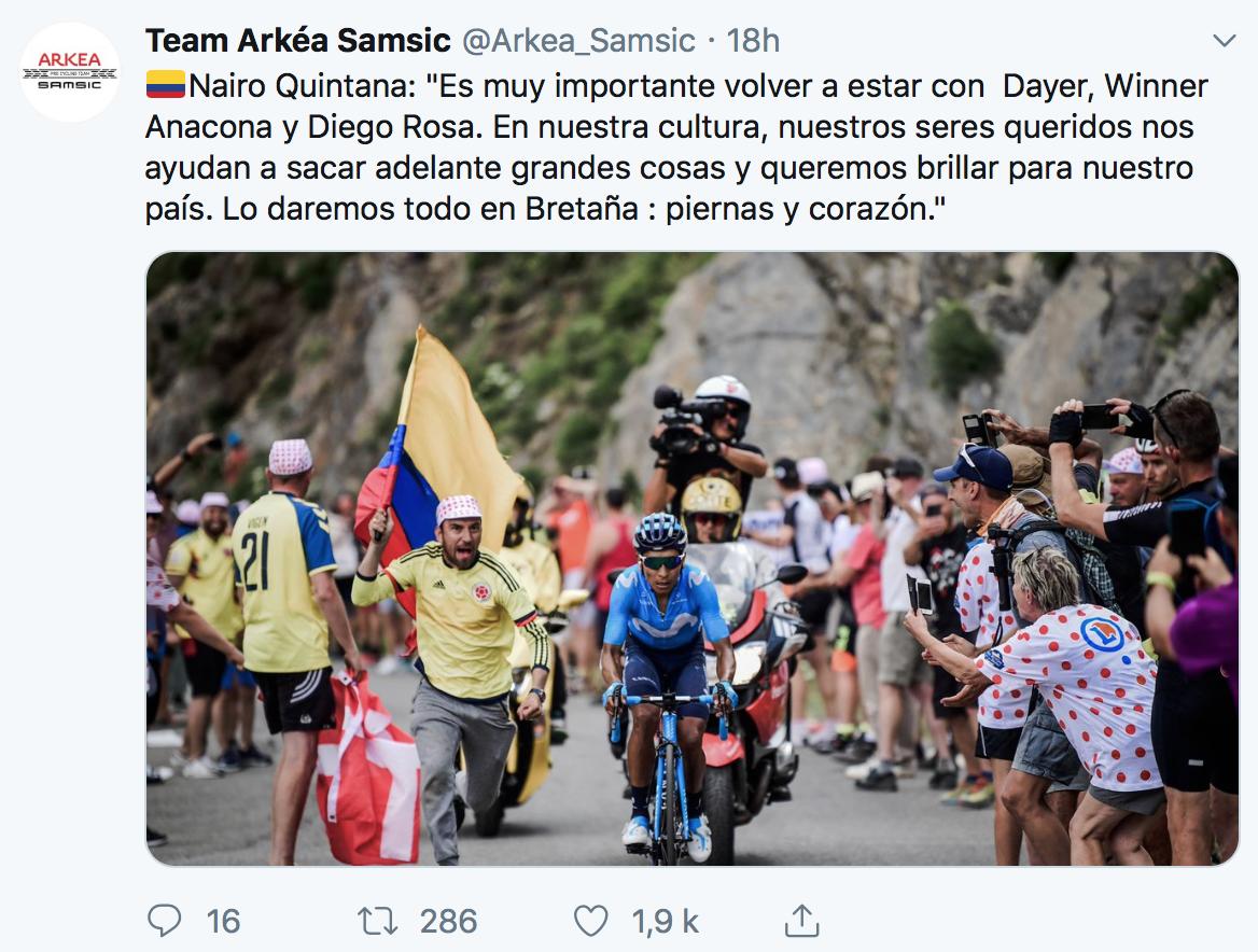 Nairo Quintana en famille à Arkéa-Samsic