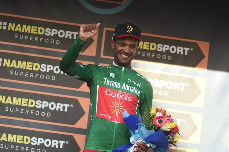 Natnael Berhane et son maillot vert du meilleur grimpeur