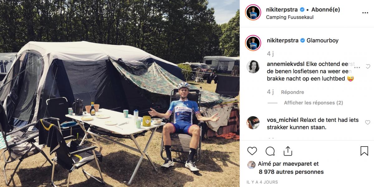 Niki Terpstra en mode camping