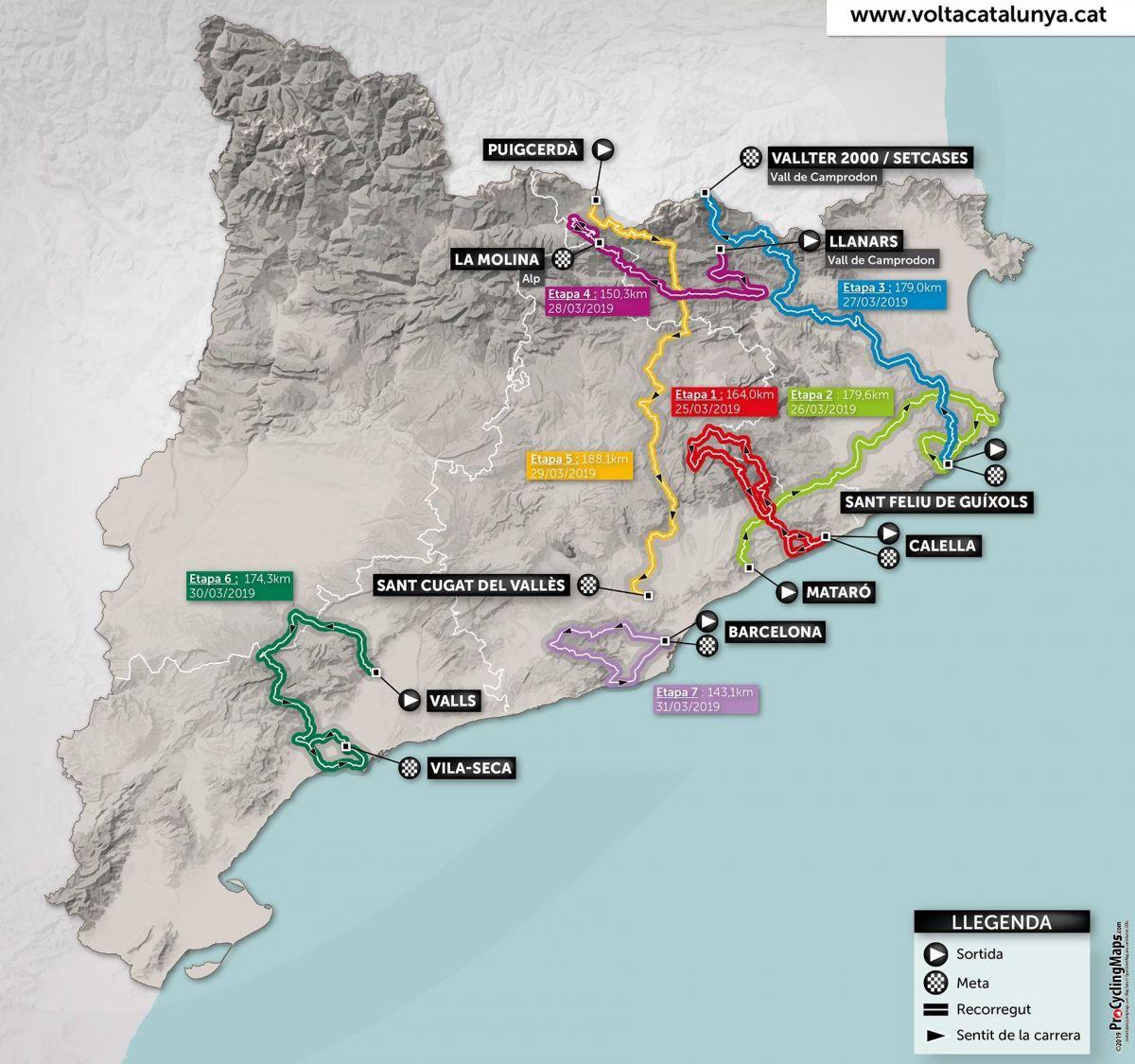 Parcours de la 99ème édition du Tour de Catalogne