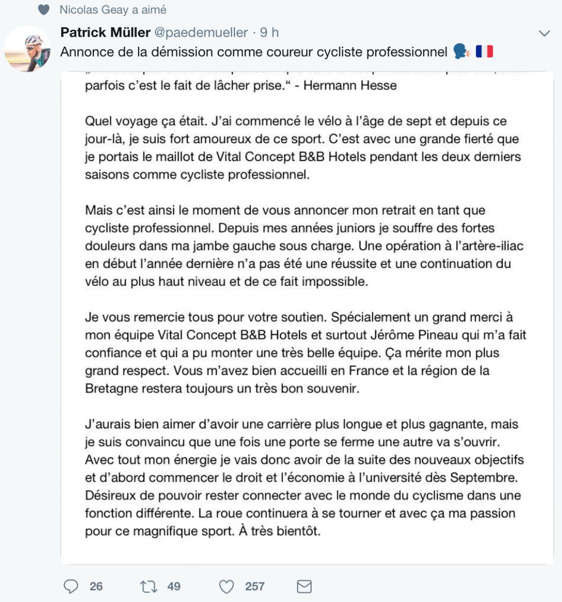 Patrick Muller arrête sa carrière