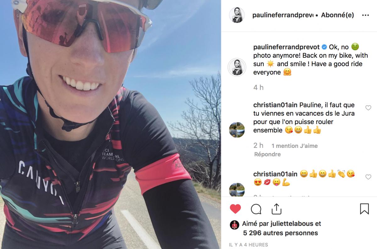 Pauline Ferrand-Prévôt tout sourire à l'entraînement