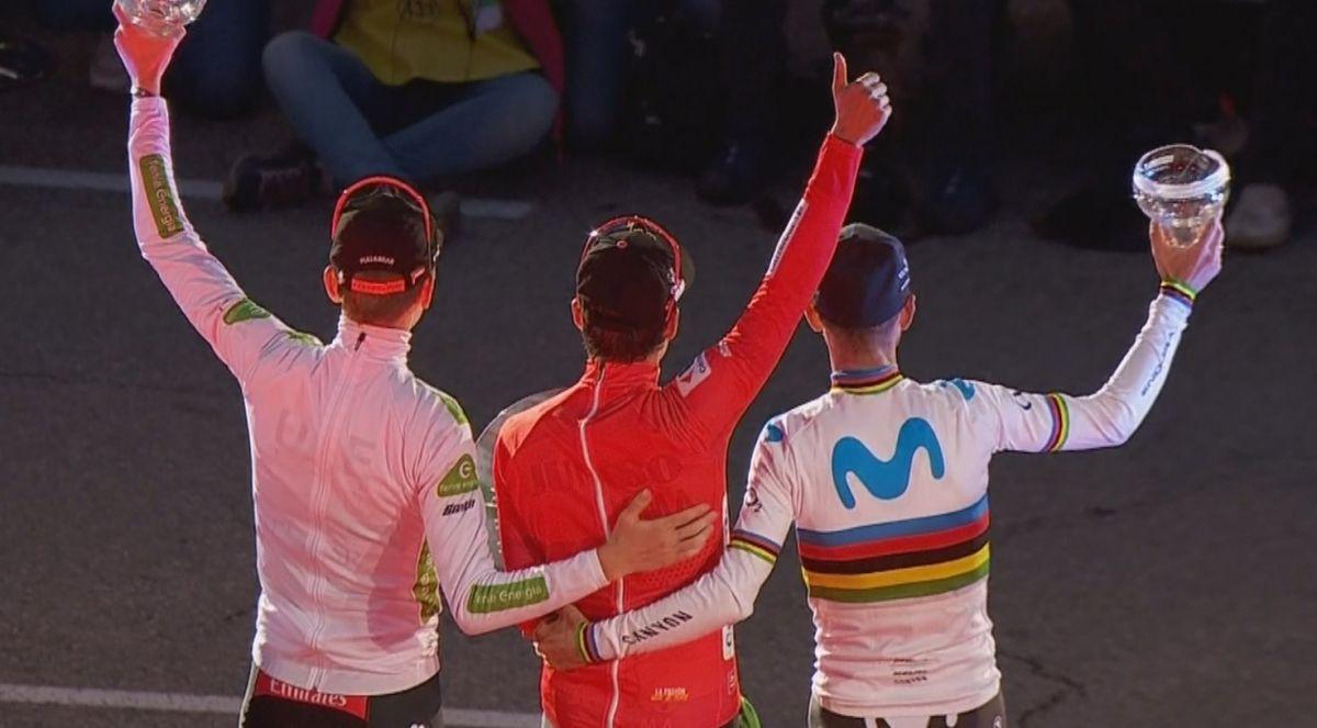 Podium général de la Vuelta avec Valverde 2ème
