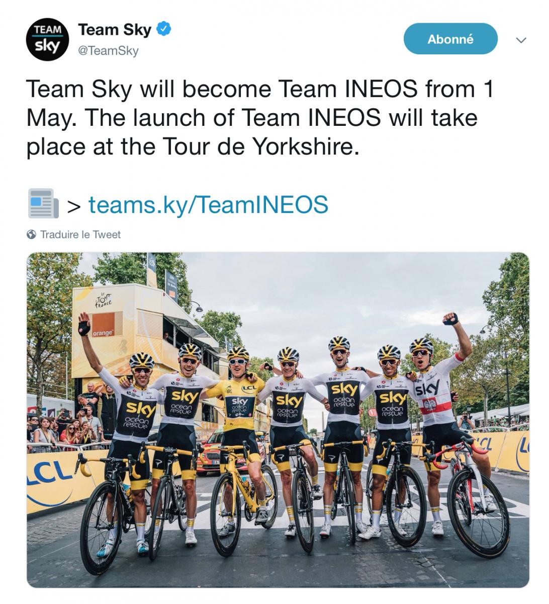 Sky devient la Team Ineos