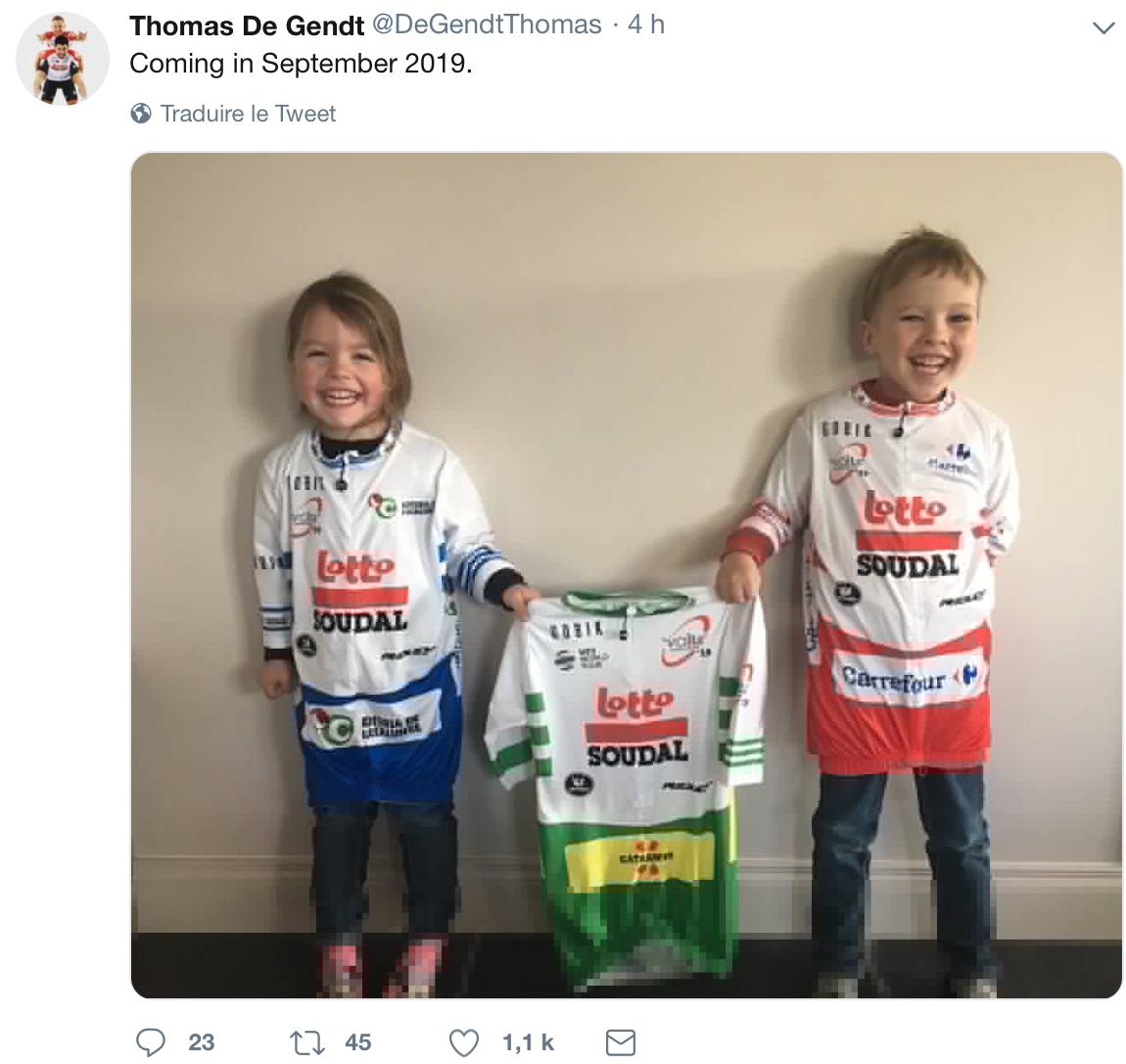 Thomas De Gendt va être de nouveau papa