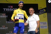 Julian Alaphilippe et Bernard Hinault au podium de la 13ème étape