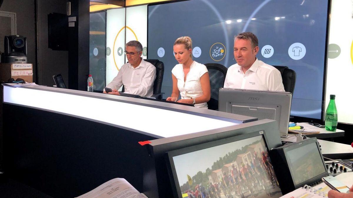 Alexandre Pasteur avec Marion Rousse et Laurent Jalabert pour commenter le Tour sur France TV