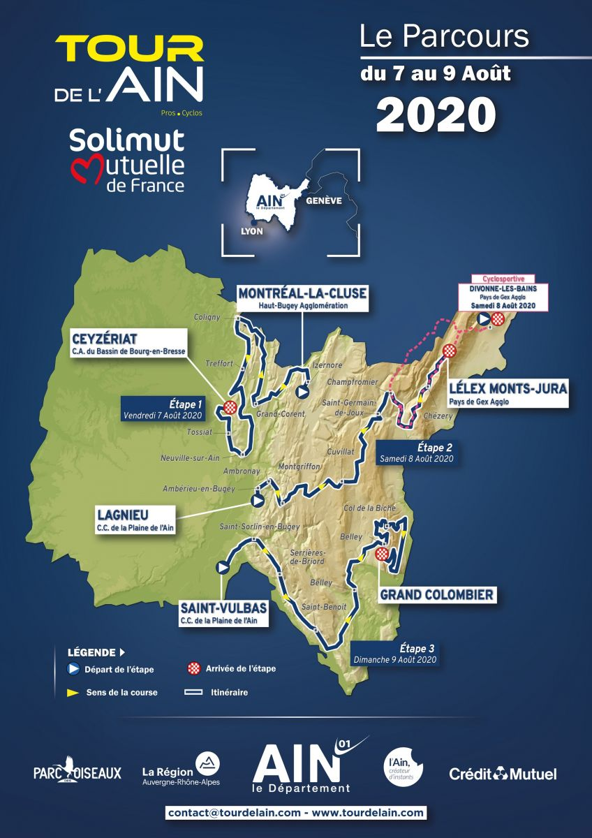 Carte générale Pros Cyclos - Tour de l'Ain 2020