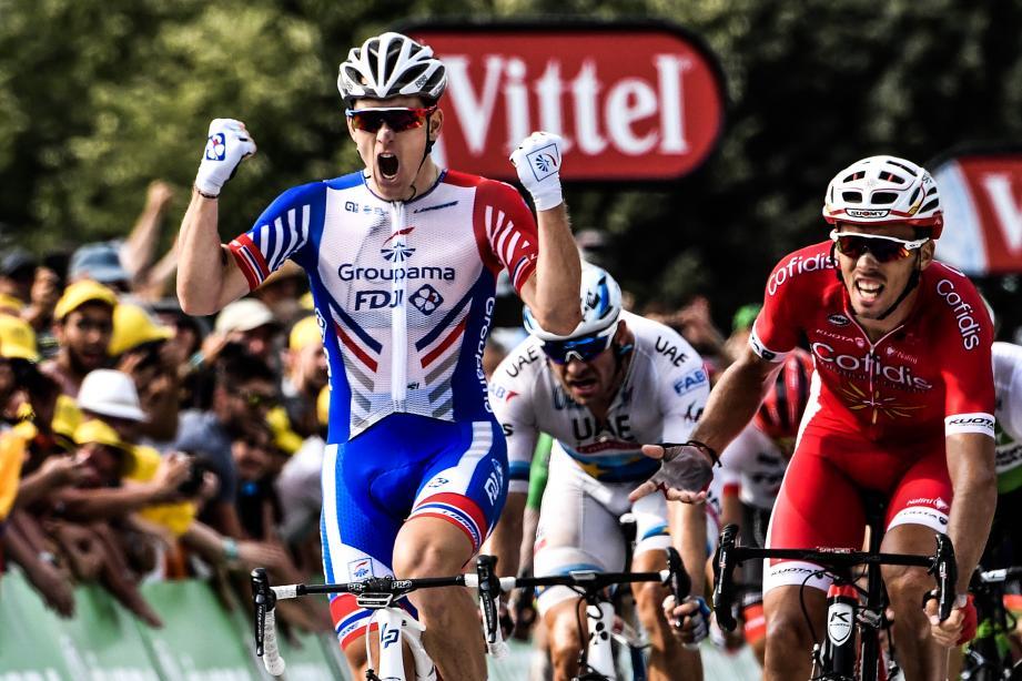 Christophe Laporte lors de sa seconde place derrière Arnaud Démare à Pau sur le Tour de France 2018