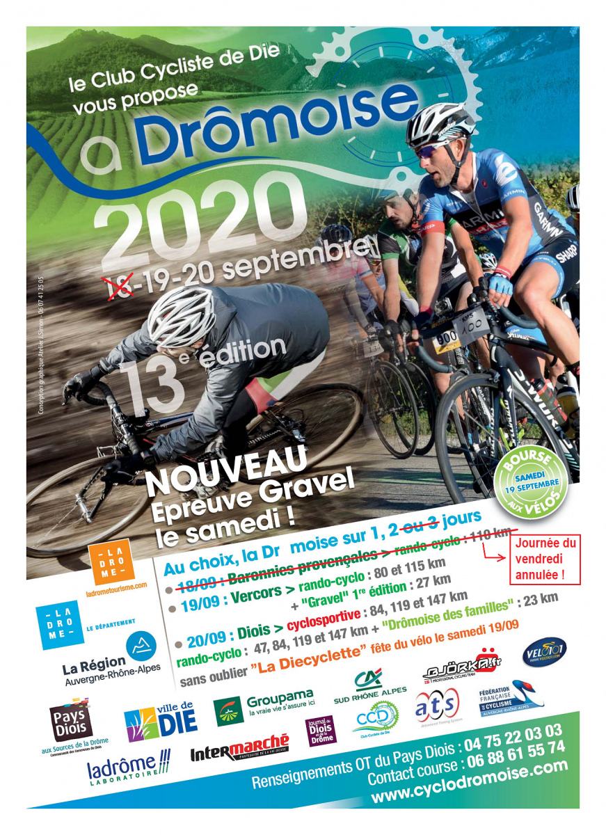 Dromoise 2020 - affiche modifiee suite annulation du vendredi