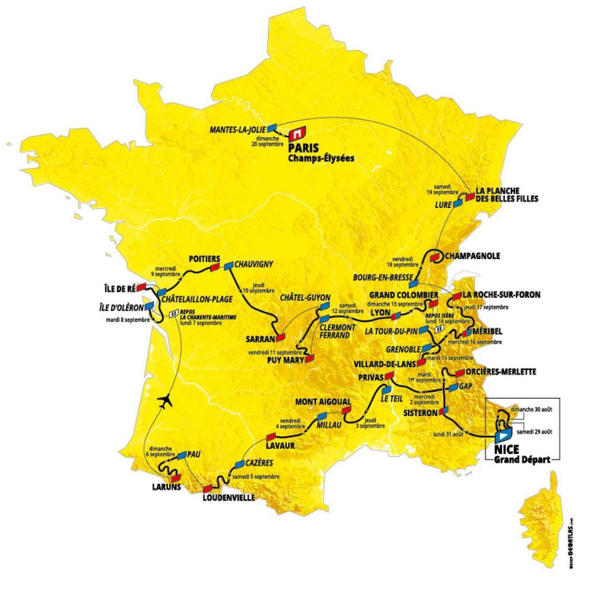 La carte du Tour 2020