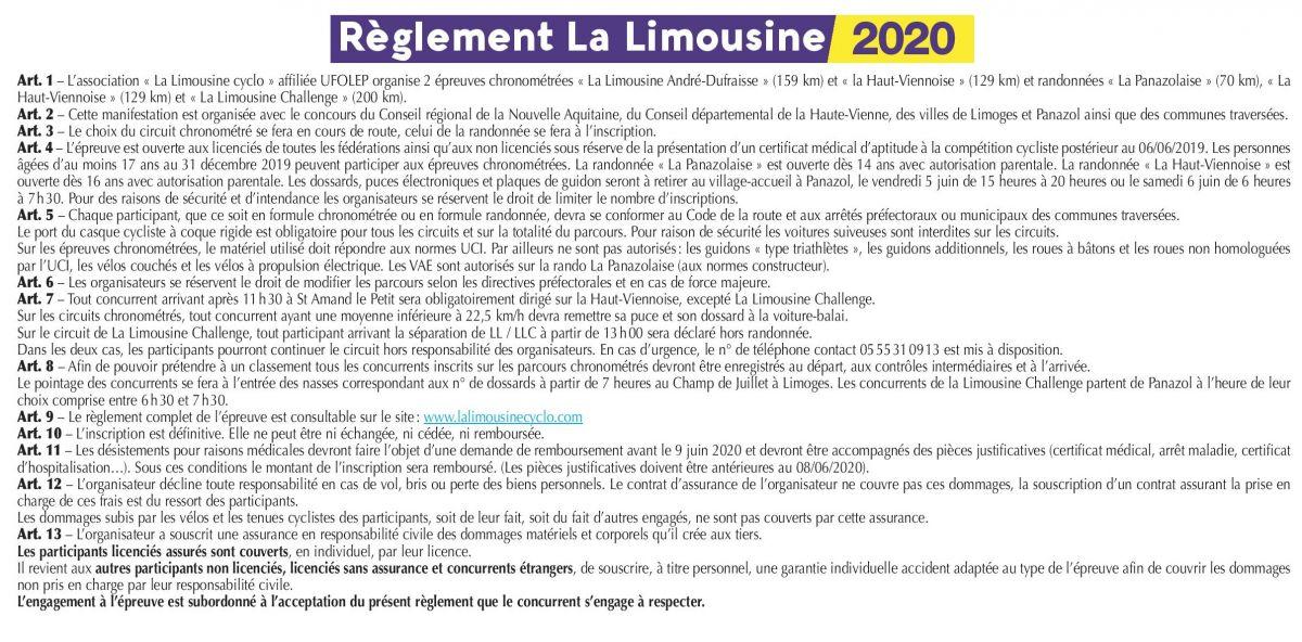 La Limousine 2020_Reglement