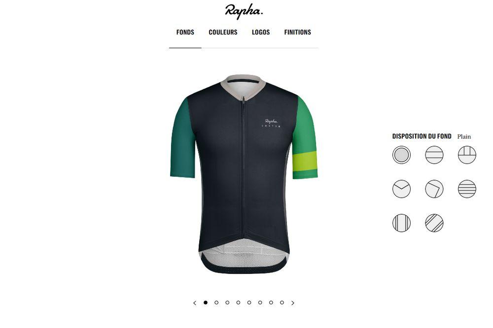 Le choix des motifs du maillot sur la plateforme Rapha Custom