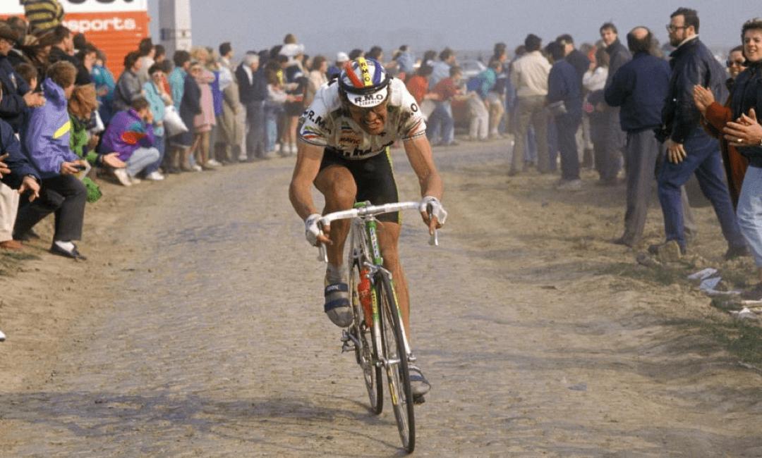Marc Madiot en route vers son deuxième Paris-Roubaix, sous le maillot de RMO