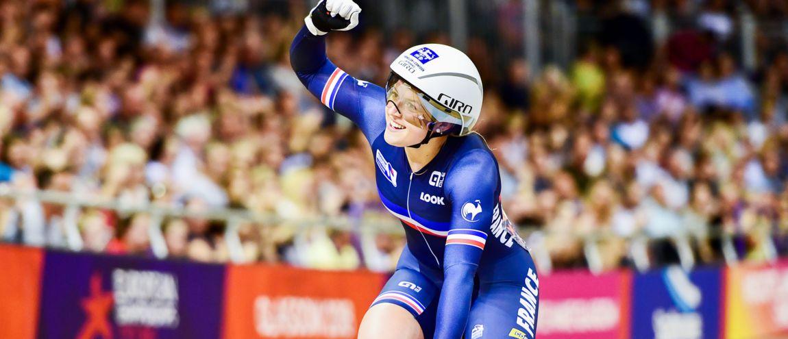 Mathilde Gros souriante sur les championnats d'Europe (ici en 2019), une image devenue habituelle
