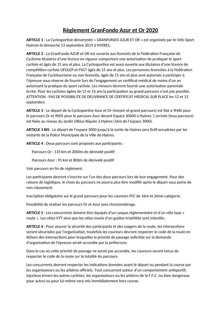 Règlement Azur et Or 2020-1