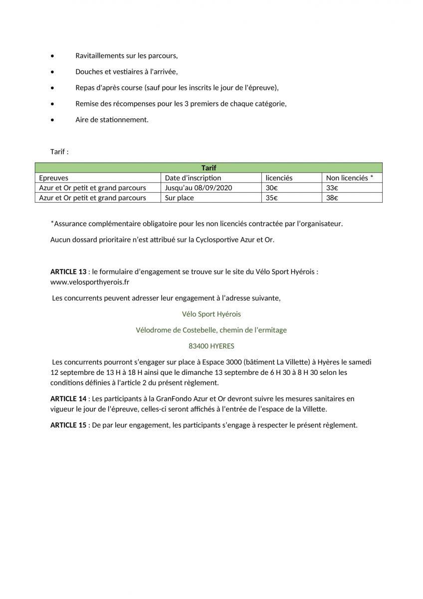 Règlement Azur et Or 2020-3