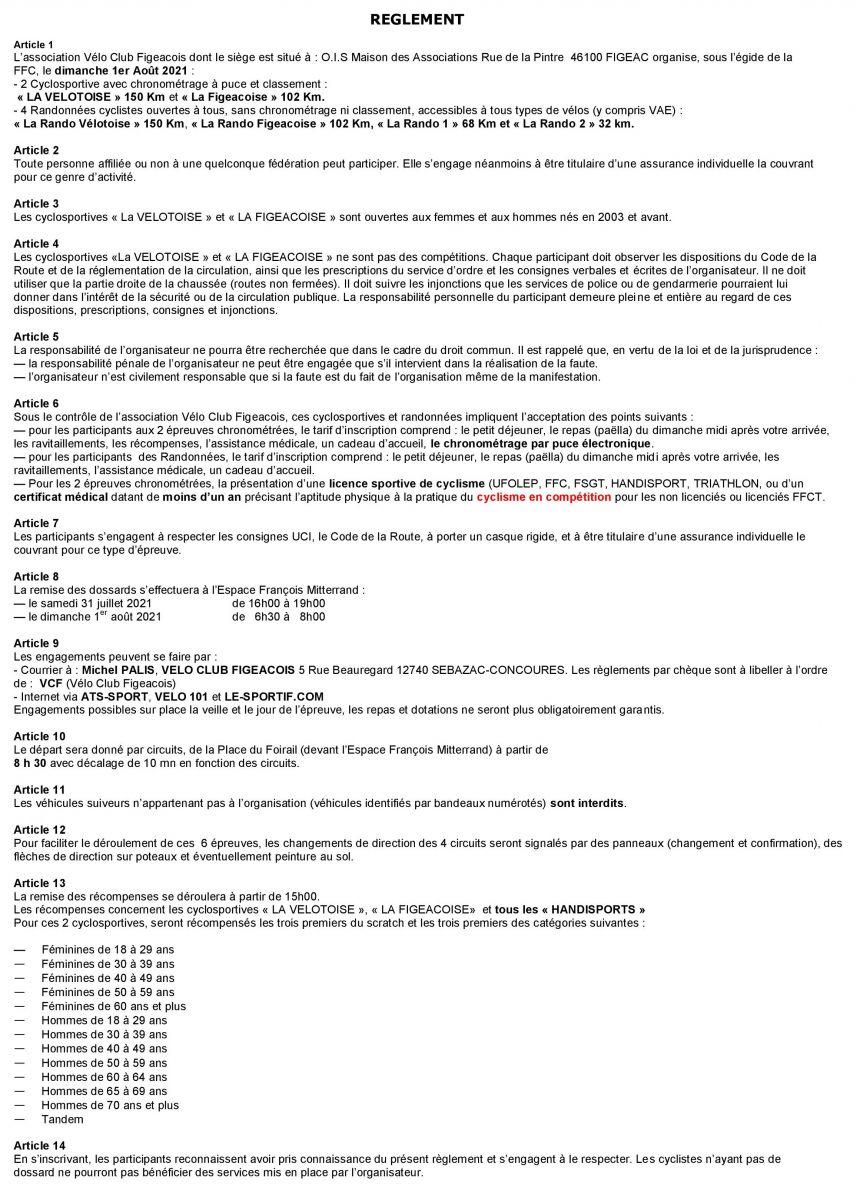 Règlement Vélotoise 2021