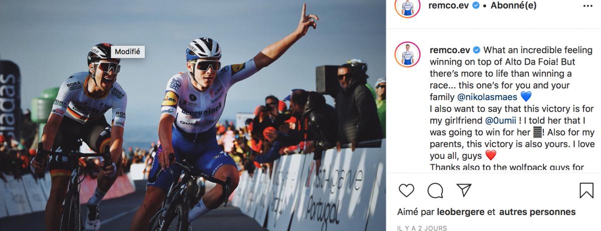 Remco Evenepoel dédie sa victoire à Nikolas Maes