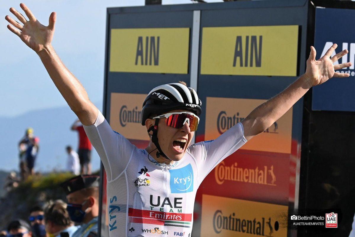 Tadej Pogacar vainqueur au sommet du Grand Colombier
