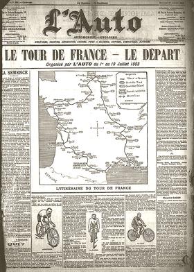 Une de l'Auto à l'occasion du départ du Tour de France 1903