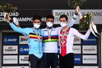 Le podium élites hommes mondial CLM 2020