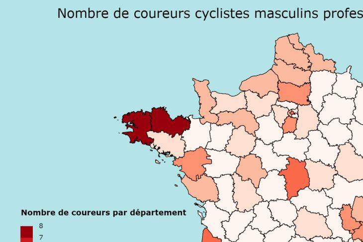 Le cyclisme en cartes #2 : le nombre de coureurs français par département