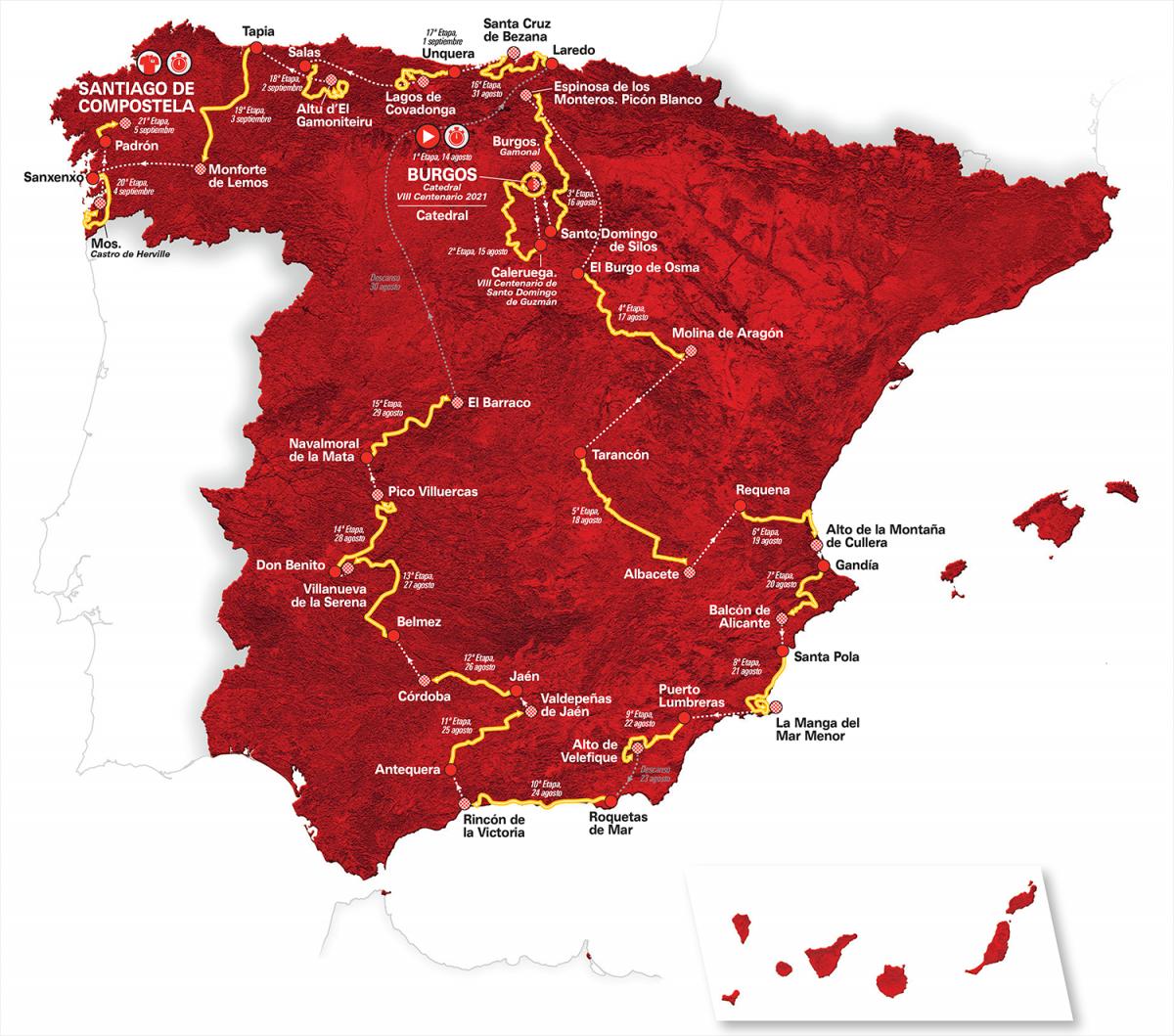 Le parcours de la Vuelta 2021
