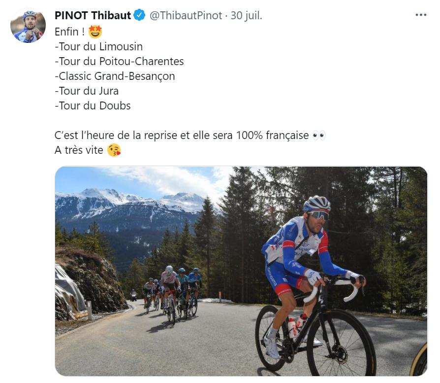 Le post annonçant le retour en compétition de Thibaut Pinot