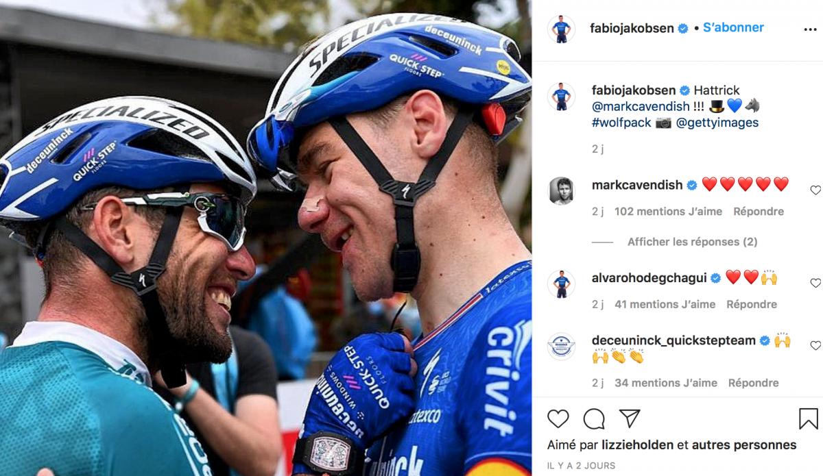 Un beau lien entre Fabio Jakobsen et Mark Cavendish