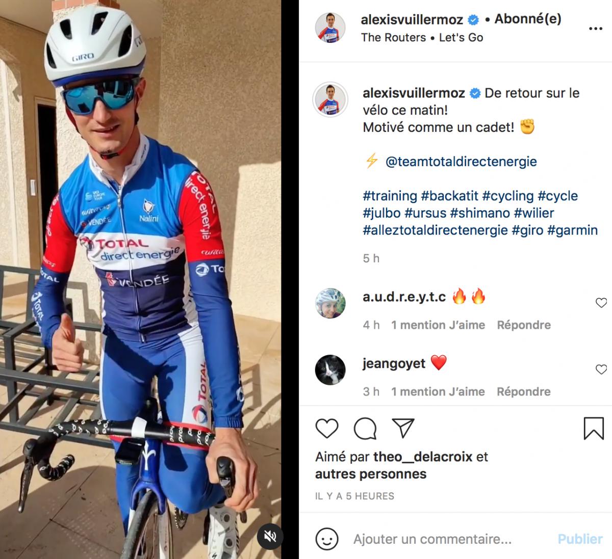 Alexis Vuillermoz a repris le vélo